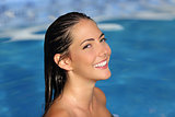 Beauty woman with perfect smile and skin on the water