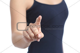 Close up of a casual woman hand checking a virtual button