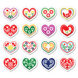Folk hearts with flowers and birds icons set