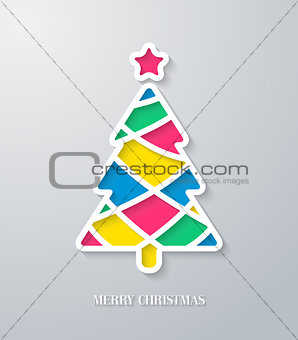 Greeting card with paper cut Christmas tree.
