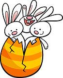 easter bunnies in egg cartoon