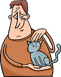 man and cat cartoon illustration