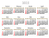 white calendar for 2015 year