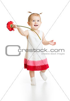 Adorable baby girl with flower isolated