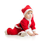 Christmas baby in Santa's clothes isolated