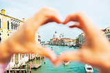 Santa maria della salute venice, italy framed by heart shaped ha