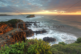 Beautiful morning with soft light on the rocks at Minamurra