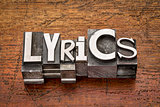 lyrics word in metal type