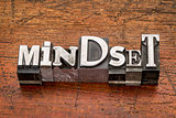 mindset word in metal type