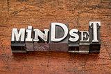 mindset word in metal type
