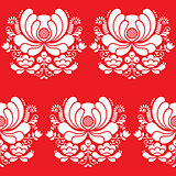 Norwegian folk art seamless white pattern on red background