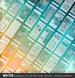Modern high tech background design with a lot of transparent devices mockup