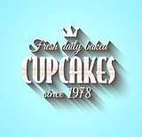 Typography poster Fresh Dalily Baked Cupcakes