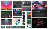 UI flat design web elements and layouts with infographics