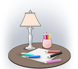 Color Pencils, Sheets and Lamp