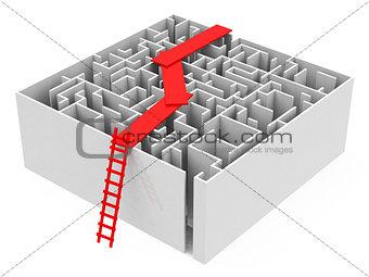 bridge above a maze