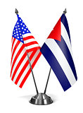 USA and Cuba - Miniature Flags.