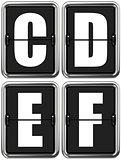 Letters C, D, E, F on Mechanical Scoreboard.
