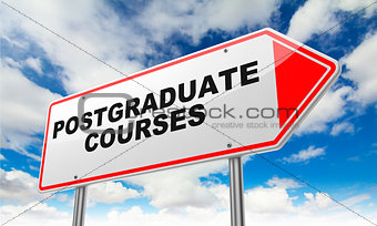 Postgraduate Courses on Red Road Sign.