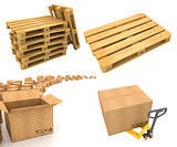 Warehouse Logistic Concepts - Set of 3D Illustrations.