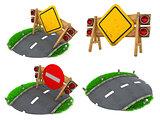 Warning Roadsigns - Set of 3D Illustrations.