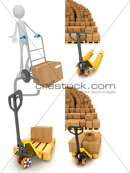 Pallet Truck - Set of 3D Illustrations.