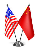 USA and China - Miniature Flags.