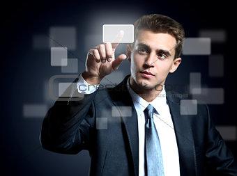 business man pressing a virtual button