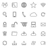 Communication line icons on white background
