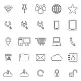 Internet line icons on white background