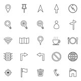 Map line icons on white background