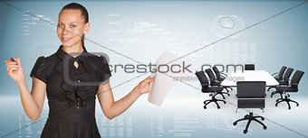 Beautiful businesswoman holding blank paper sheet and felt pen ready to use.  Beside is big conference table with chairs