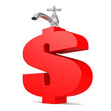 Water tap with red dollar sign