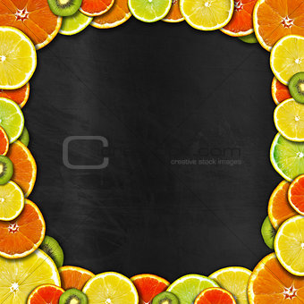 Blackboard with Fruit Frame