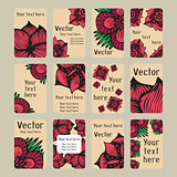 Colourful business cards with doodling flowers in tattoo style