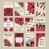 Set of business cards with doodling flowers