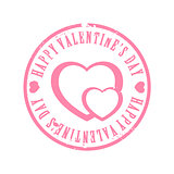Pink scraped Valentine's day stamp
