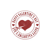 Red Valentine heart and arrow grunge stamp