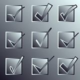 Vector confirm icons set. Yes icon. Check Mark icon.   Mettalic.