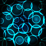 Glow blue bubbles seamless pattern or background