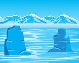 Arctic landscape with iceberg