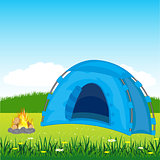 Blue tent on glade