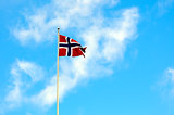 Norway national flag in the blue sky