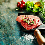 vintage cleaver and Beef Carpaccio