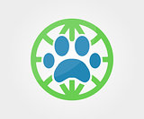 Vector logo design element. Paw, animal, globe, earth