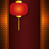 Invitation card with Chinese lantern