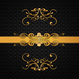 Invitation card with golden floral