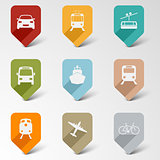 Colorful set web retro pointers for transport