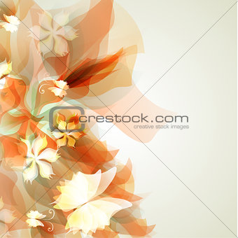 Abstract artistic Background with yellow floral element