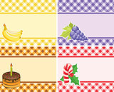 set of vector checkered backgrounds frames of different colors.